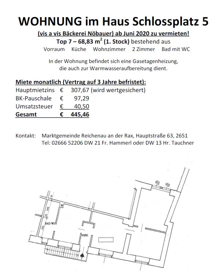 Foto zum Inserat Wohnung im Haus Schlossplatz 5 (vis a vis Bäckerei Nöbauer) zu vermieten!